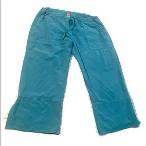 Lucy teal cropped wide leg pants